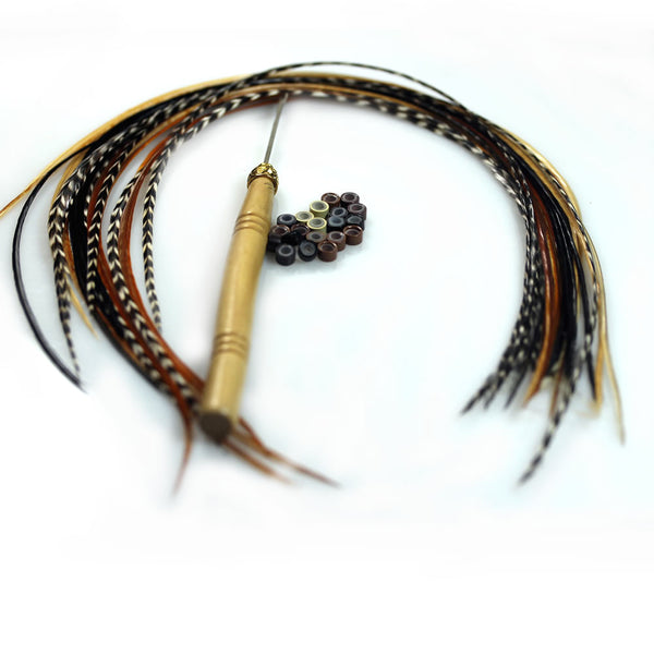 Feather Hair Extensions, 100% Real Rooster Feathers, Long Natural Colors, 20 Feathers with Beads and Loop Tool Kit - Sexy Sparkles Fashion Jewelry - 1