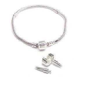 "7.5"" European Style Snake Chain Charm Bracelets Silver Plated - Sexy Sparkles Fashion Jewelry - 2"