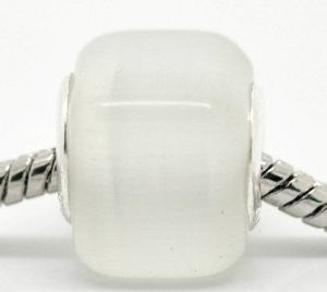 White Cats Eye Glass Cube European Bead Compatible for Most European Snake Chain Bracelet - Sexy Sparkles Fashion Jewelry - 2