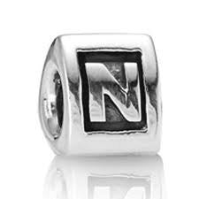 "Letter ""N"" Triangle European Bead Compatible for Most European Snake Chain Bracelets"