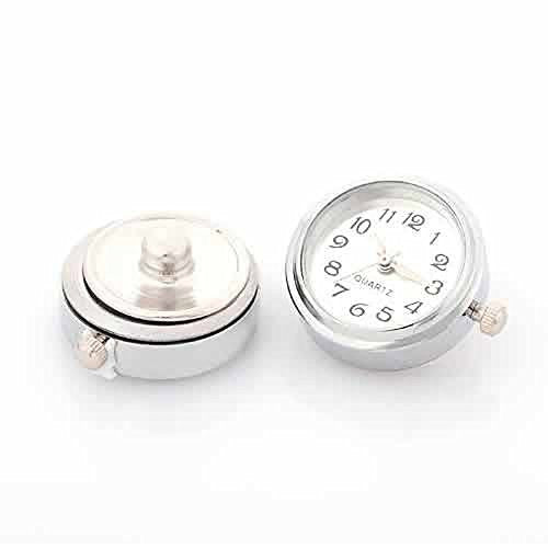 White Snap Watch Charm Cross Chunk Snap Jewelry Button Round Silver Tone Fit Chunk Bracelets
