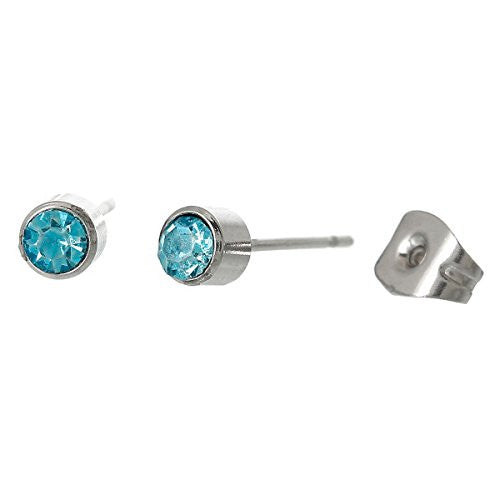 March Birthday Stainless Steel Post Stud Earrings with  Rhinestone