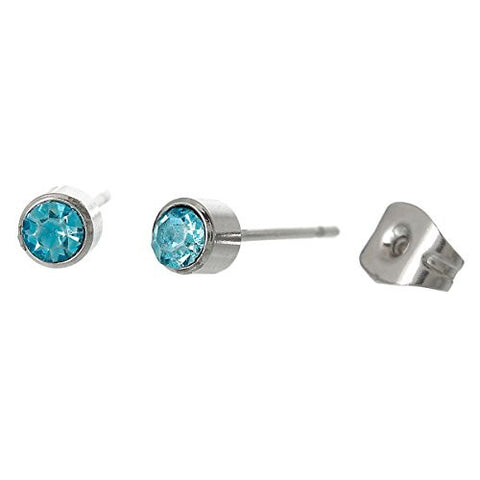 March Birthday Stainless Steel Post Stud Earrings with  Rhinestone - Sexy Sparkles Fashion Jewelry - 1