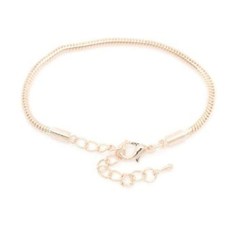 "5.75 "" with 2"" Extension Rose Gold Tone Snake Chain Bracelet with Lobster Clasp - Sexy Sparkles Fashion Jewelry - 1"