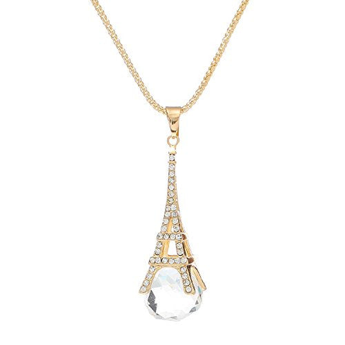 Fashion Jewelry Necklace Paris Eiffel Tower Ball Faceted Clear Rhinestone with Lobster Clasp
