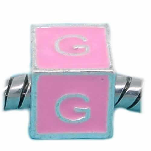 """G"" Letter Square Charm Beads Pink Enamel European Bead Compatible for Most European Snake Chain Charm Bracelets - Sexy Sparkles Fashion Jewelry - 1"