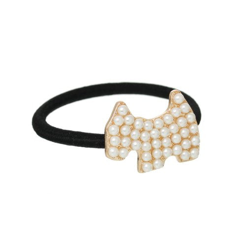 Nylon Cirlce Ring Hair Band Ponytail Holder Black Acrylic Imitation Pearl Choose Your Style From Menu (Dog) - Sexy Sparkles Fashion Jewelry - 1