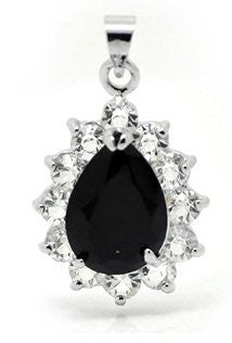 (1) Black Titanic Inspired Elegant Tear Drop Faceted Glass Crystal with Rhinestone Pendent - Sexy Sparkles Fashion Jewelry