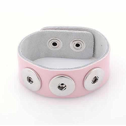 Pink Leather Copper Buckle Chunk Bracelets White Fit Snaps Chunk Buttons 24cmx2.4cm