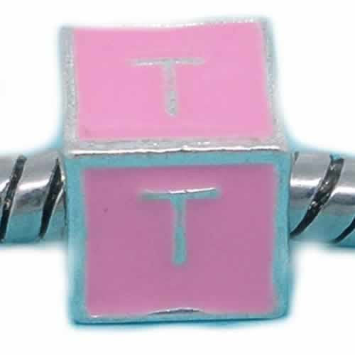 """T"" Letter Square Charm Beads Pink Enamel European Bead Compatible for Most European Snake Chain Charm Bracelet"