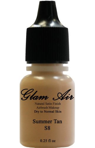 Airbrush Makeup Foundation Satin S8 Summer Tan Water-based Makeup Lasting All Day 0.25 Oz Bottle - Sexy Sparkles Fashion Jewelry - 1