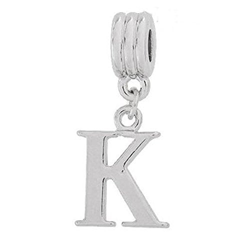 Alphabet Spacer Charm Beads Letter K for Snake Chain Bracelets
