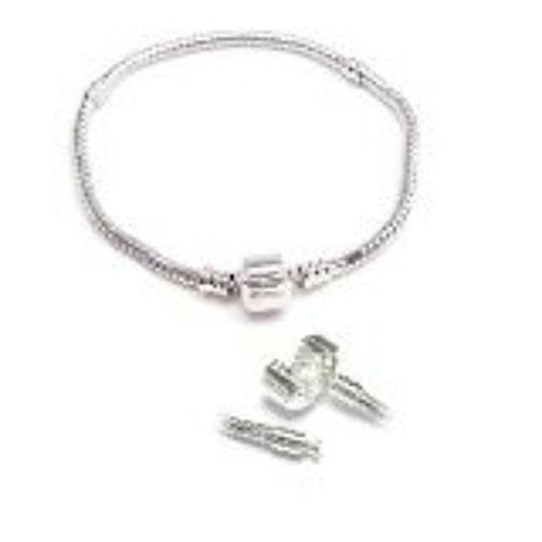8 Inch Silver Tone Charm Bracelet  compatible with European Charms