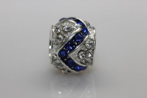 Clear and Royal Blue  Crystal Charm Bead for snake charm Bracelet - Sexy Sparkles Fashion Jewelry - 4