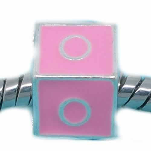 """O"" Letter Square Charm Beads Pink Enamel European Bead Compatible for Most European Snake Chain Charm Bracelets"