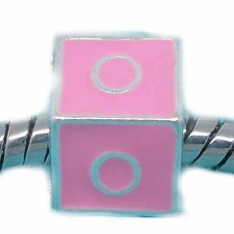 """O"" Letter Square Charm Beads Pink Enamel European Bead Compatible for Most European Snake Chain Charm Bracelets - Sexy Sparkles Fashion Jewelry - 1"