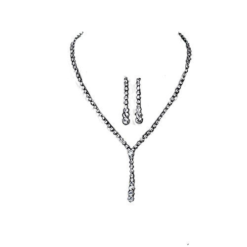 Fashion Jewelry Necklace Earring Ear Stud Set Teardrop Silver Plated w/ Stoppers Clear Rhinestone