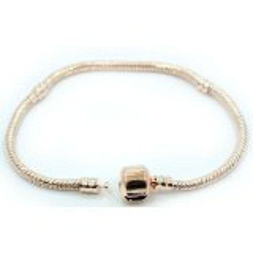 "9.0"" Rose Gold Plated Snake Chain Barrel Clasp Pandora Style Fits Chamilia Zable Kay charms"