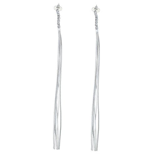 Fashion Jewelry Women's Silver Tone Long Tassels Stud Earring