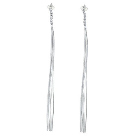 Fashion Jewelry Women's Silver Tone Long Tassels Stud Earring - Sexy Sparkles Fashion Jewelry - 1