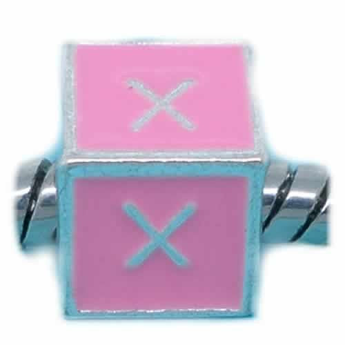 """X"" Letter Square Charm Beads Pink Enamel European Bead Compatible for Most European Snake Chain Charm Braceletss"