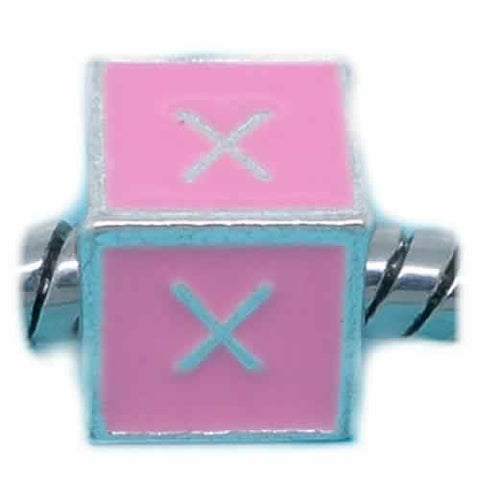 """X"" Letter Square Charm Beads Pink Enamel European Bead Compatible for Most European Snake Chain Charm Braceletss - Sexy Sparkles Fashion Jewelry - 1"