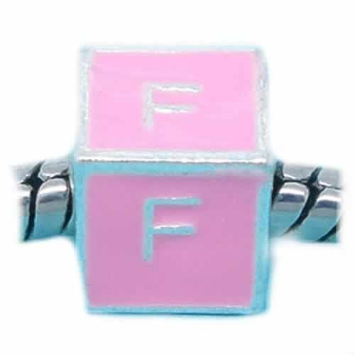 """F"" Letter Square Charm Beads Pink Enamel for Snake Chain Charm Bracelets - Sexy Sparkles Fashion Jewelry"