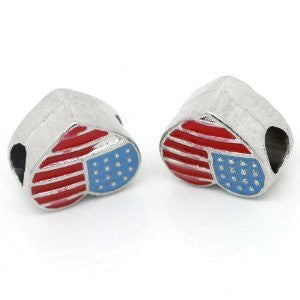 American Flag Heart Spacer Beads for Snake Chain Charm Bracelet - Sexy Sparkles Fashion Jewelry - 4