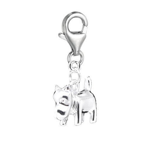 Clip on Dog Charm Pendant for European Jewelry w/ Lobster Clasp