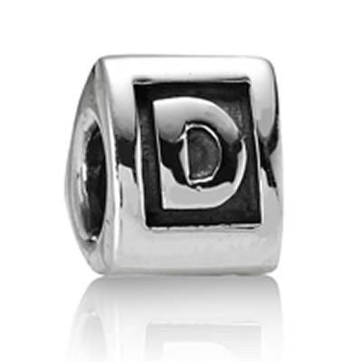"Letter ""D"" Triangle European Bead Compatible for Most European Snake Chain Bracelets"