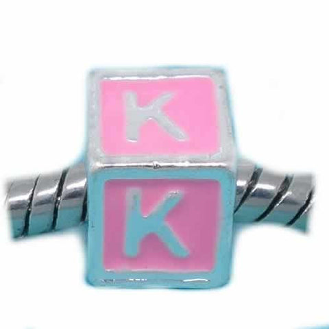 """K"" Letter Square Charm Beads Pink Enamel European Bead Compatible for Most European Snake Chain Charm Braceletss - Sexy Sparkles Fashion Jewelry - 1"
