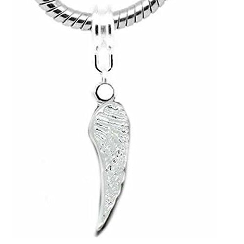 Angel Wing Charm Dangle Charm European Bead Compatible for Most European Snake Chain Bracelet