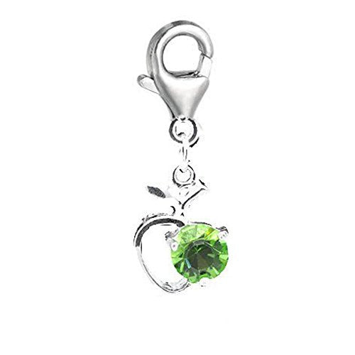 Clip on Green Rhinestone Apple Heart Charm Pendant for European Jewelry w/ Lobster Clasp
