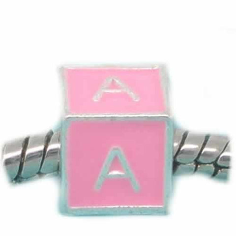"""A"" Letter Square Charm Beads Pink Enamel European Bead Compatible for Most European Snake Chain Charm Bracelet - Sexy Sparkles Fashion Jewelry - 1"