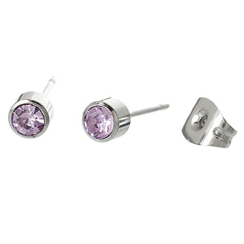 February Stainless Steel Post Stud Earrings with  Rhinestone - Sexy Sparkles Fashion Jewelry - 1