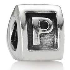 "Letter ""P""Triangle European Bead Compatible for Most European Snake Chain Bracelets"