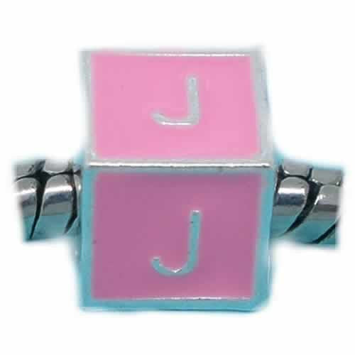 """J"" Letter Square Charm Beads Pink Enamel European Bead Compatible for Most European Snake Chain Charm Braceletss"