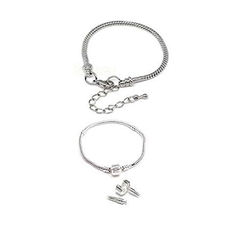 "2 (Two) Silver Tone Snake Chain Classic Bead Barrel Clasp + Lobster Clasp Bracelet 8.5"" - Sexy Sparkles Fashion Jewelry"