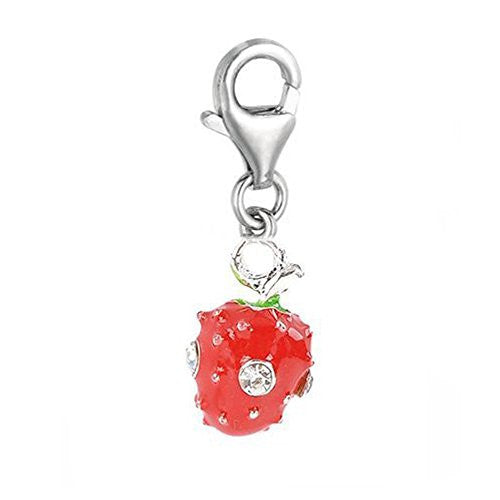 Clip on Strawberry with Crystals Charm Pendant for European Jewelry w/ Lobster Clasp