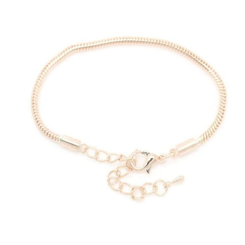 "8.5"" plus 2"" extension Rose Gold Tone Snake Chain Bracelet with Lobster Clasp - Sexy Sparkles Fashion Jewelry - 1"
