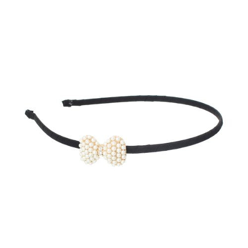 Gold Tone Nylon Hairband Black Acrylic Pearl Imitation Bowknot - Sexy Sparkles Fashion Jewelry