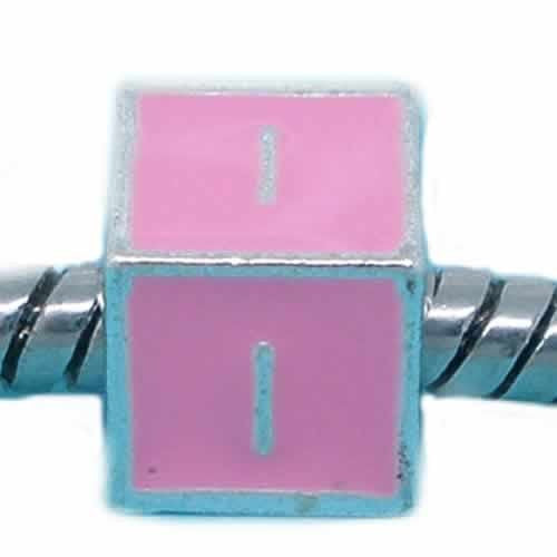 """I"" Letter Square Charm Beads Pink Enamel European Bead Compatible for Most European Snake Chain Charm Bracelet - Sexy Sparkles Fashion Jewelry - 1"