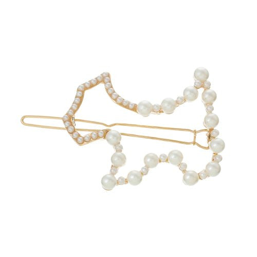 Hair Pin Clips Rose Gold Tone with Imitaiton Pearls Choose Your Design From Menu (Dog 6.4cm X 4.4cm) - Sexy Sparkles Fashion Jewelry