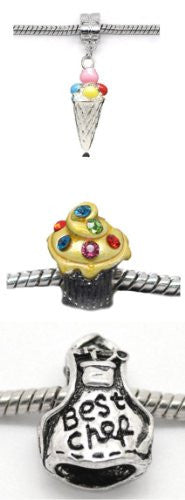 Set of 3 Chef Inspired Charm Beads For Snake Chain Bracelets