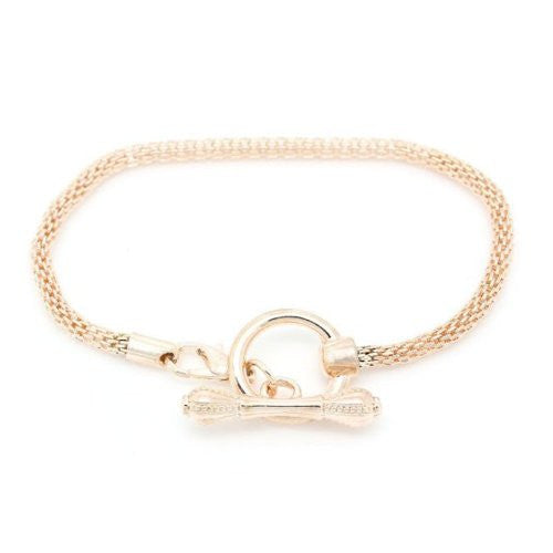 7.25 Rose Gold Tone Plated Base Toggle Clasp Snake Chain Charm W/lobster Clasp Bracelet