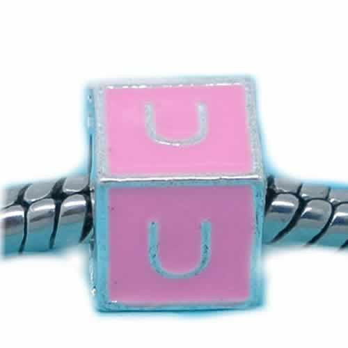 """U"" Letter Square Charm Beads Pink Enamel European Bead Compatible for Most European Snake Chain Charm Bracelets"