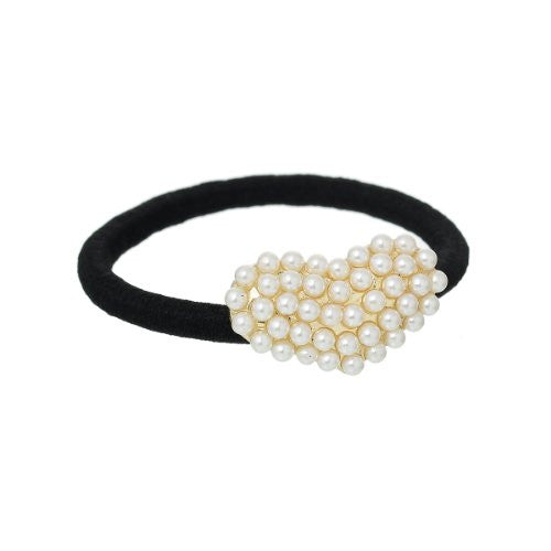 Nylon Cirlce Ring Hair Band Ponytail Holder Black Acrylic Imitation Pearl Choose Your Style From Menu (Heart) - Sexy Sparkles Fashion Jewelry - 1