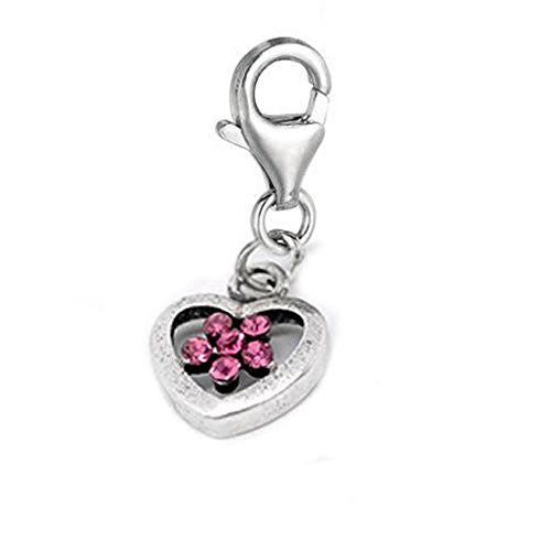 Clip on Rhinestone Flower Heart Charm Pendant for European Jewelry w/ Lobster Clasp