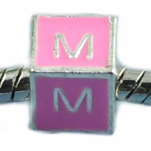 """M"" LetterSquare Charm Beads Pink Enamel European Bead Compatible for Most European Snake Chain Charm Braceletss"