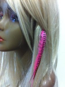 Clip on 4-6 Pink & Brown Feathers for Hair Extension 5 Feathers - Sexy Sparkles Fashion Jewelry